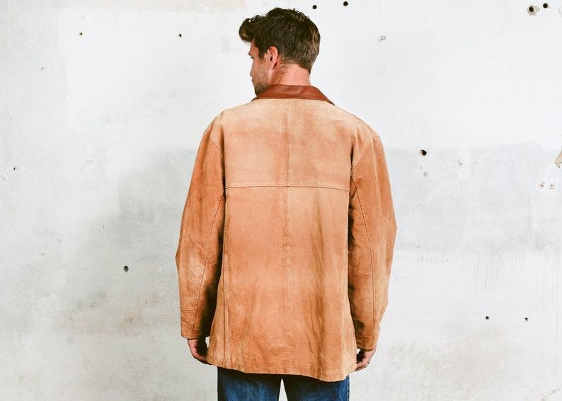 90s Leather Suede Jacket Men/'s Western Coat 1990s Outerwear 90s Spring Jacket size Large Vintage Men Suede Coat
