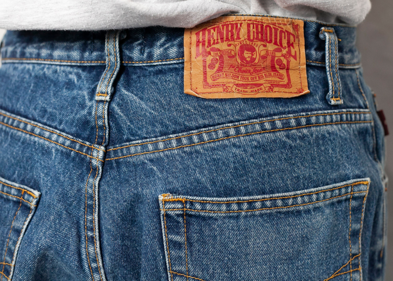 Henry Choice Jeans Men vintage men denim pants faded light wash zipper fly men/'s clothing boyfriend gift size 33-34