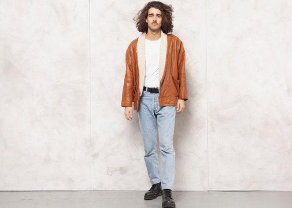 80s Leather Jacket Vintage Sherpa Jacket Men Brown