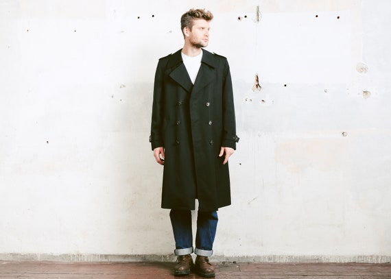 shoes for cheap shoes for cheap on sale Black Trench Coat . Vinter Coat 80s Insulated Coat Film Noir Topcoat  Vintage 1980s Long Duster Coat Outerwear . size Large