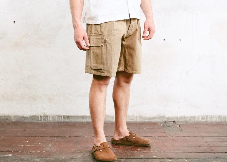 Vintage Canvas Cargo Shorts Men Summer Shorts Men/'s Casual Shorts Brown Hiking Shorts Scout Shorts Safari Shorts size Large L