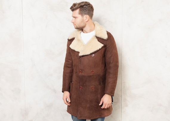 70's Sheepskin Coat Vintage Shearling Coat Mens Wi