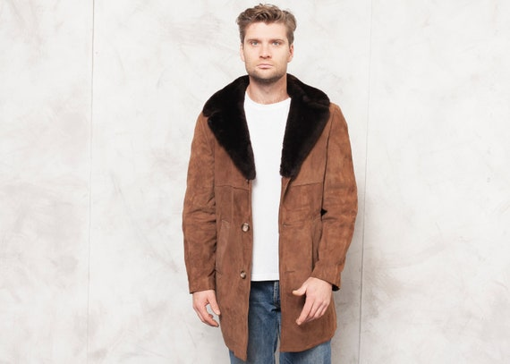 80's Men Coat Vintage Winter Sherpa Coat Casual Me