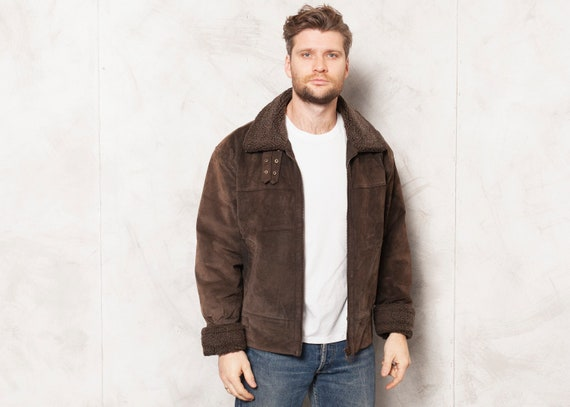 Suede Aviator Jacket 90s Vintage Brown Jacket Men