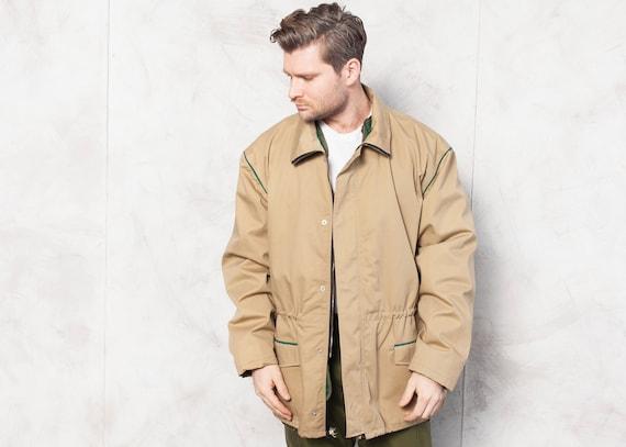 Insulated Parka Jacket 80's Vintage 1980s Men Beig