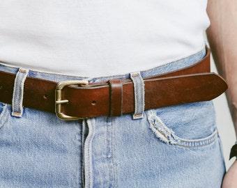 Custom Made LEATHER Belt . Mens Vintage Belt Brown Full Grain Leather Belt Rustic Wedding Groomsmen Gift Aged Wide Genuine Leather Belt