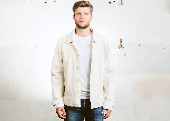 finest selection f2fec acc63 Männer Beige Trucker Jacke. Vintage 90er Jahre Jeans Jacke Oberbekleidung  Kleidung Mantel Unisex Ernte Jacke. Große Größe