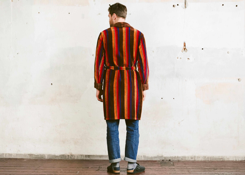 4c02a4b5afb9c 70s Mens Bath Robe . Vintage Swim Robe Terry Cloth Striped Print ...