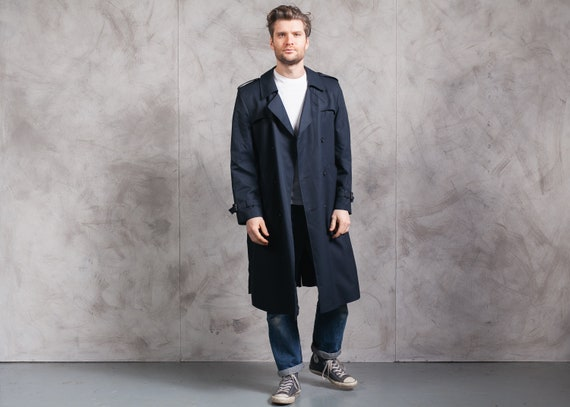 Navy Blue 80s Trench Coat . Vintage Men 1980s Tren