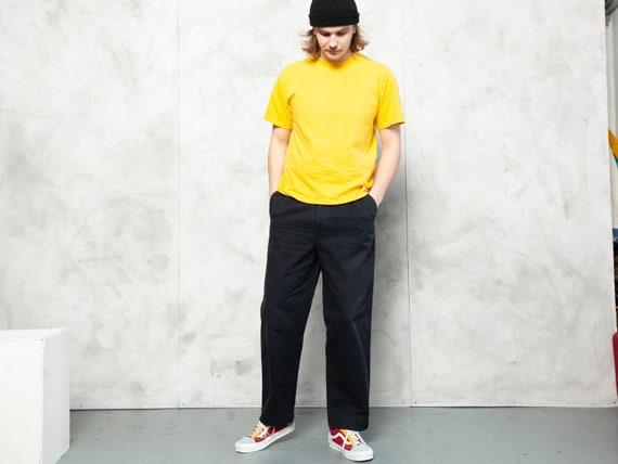 Casual Blue Pants vintage 90s flat front pants men