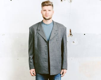 Minimalist Wool Jacket . Vintage 70s Military Coat Grey Wool Blazer . size Extra Large XL