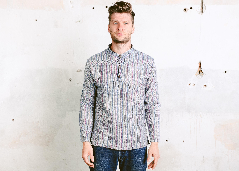 Striped Collarless Shirt Vintage Mens 80s Summer Shirt