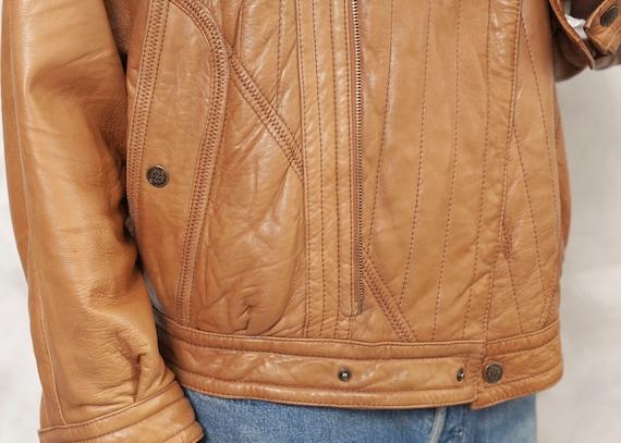 Brown Leather Jacket Bomber Men Vintage 80s Fligh… - image 7