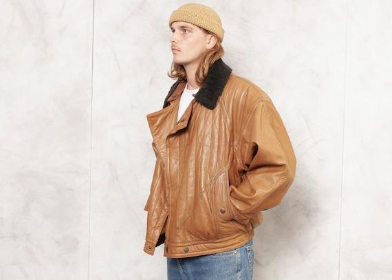 Brown Leather Jacket Bomber Men Vintage 80s Fligh… - image 2