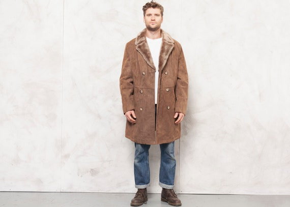 70's Suede Coat Men Vintage Shearling Coat Men Fau