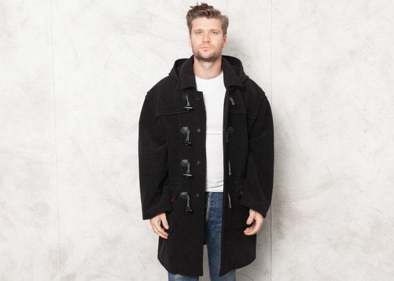 Vintage Duffel Coat Navy Blue Hooded Coat Men's 19