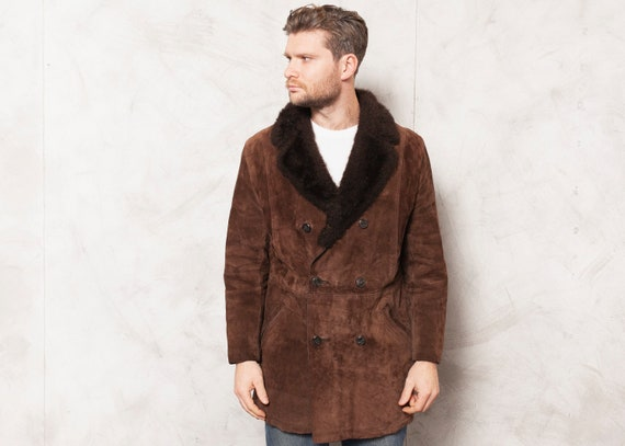 Suede Winter Coat 70s Sherpa Coat Vintage Dark Bro