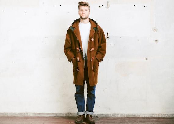 huge discount 86e25 9f658 Brauner Wolle Dufflecoat. Kapuzen-Mantel braun Herren Vintage 1980er Jahre  lange Jacke Mod Wintermantel Oberbekleidung braun Mantel. Größe: große L