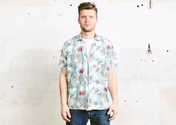 Vintage Novelty Print Polo Shirt Men 90s Printed T-shirt Men/'s Summer Shirt Bold Polo Shirt Boyfriend Gift Men Clothing size Medium M