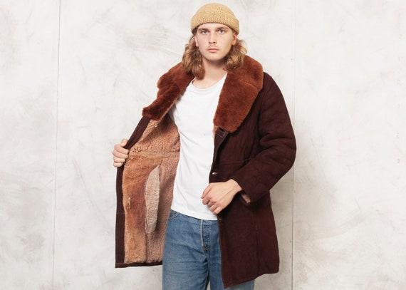Brown Sheepskin Coat . Men 70's Vintage Coat Shear