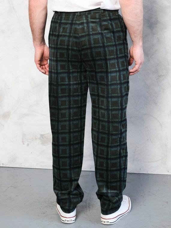 Plaid Corduroy Pants vintage 80s dark green cord … - image 5