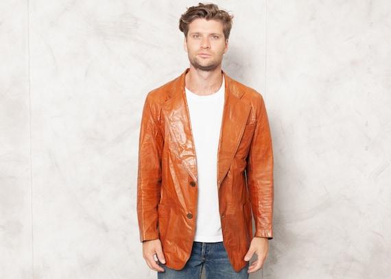 Vintage 70s Leather Blazer Jacket Mens Orange Brow