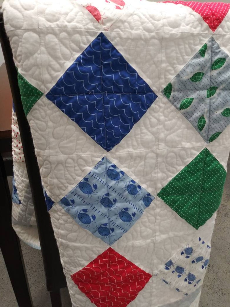 Quilt for Sale Modern Baby Quilt Moda Ahoy Fabric Line Nautical OceanSea Themed Unisex baby throw,with Crabs Whales and Turtles