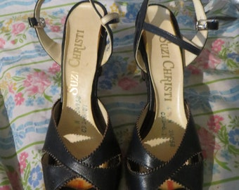 5c0c6b42091 1960s peep toe STACKED wood heel sexy strappy kitten navy blue leather wood  stack heels by SUZI Christi sz 6.5
