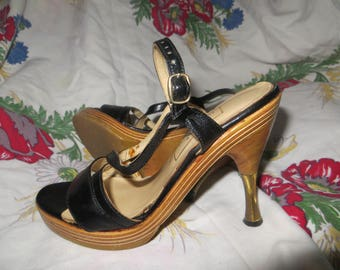 0bd7767bc0d VINTAGE sexy kitten Miss Capezio made in greece wood plateform black  leather strappy steletto heels sz 5