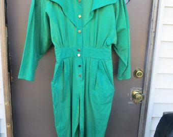 8ebd0c7ba9b Vintage 70s 80s Joni Blair california green tie dyed cotton denim jumpsuit  romper