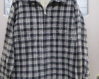 94a9a757988 vintage mens flannel black white brown cotton plaid zipper front shirt    cpo jacket sz small by WEEKEND Provisions