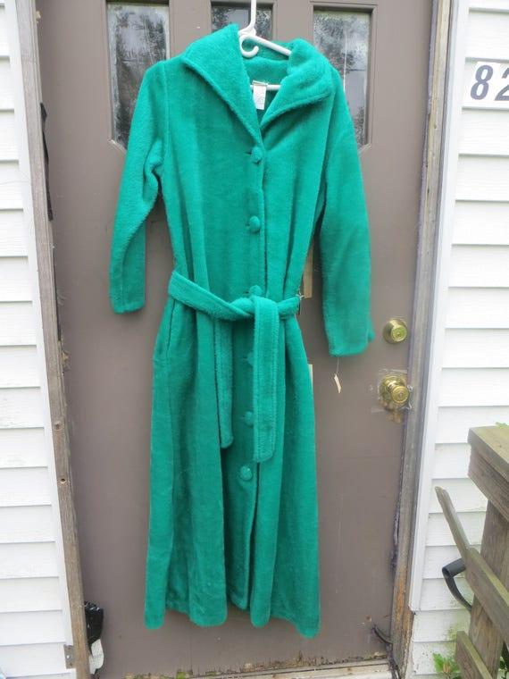 1970  EMERALD   green   Furry Robe  Long Maxi  but