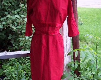vintage 160s       A Topaz Original red wiggle dress  with  satin taffeta lining       sz..12