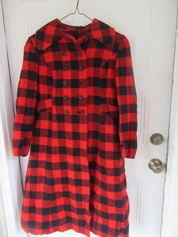 50S princess style coat   BUFFALO pLAID  WOOL red