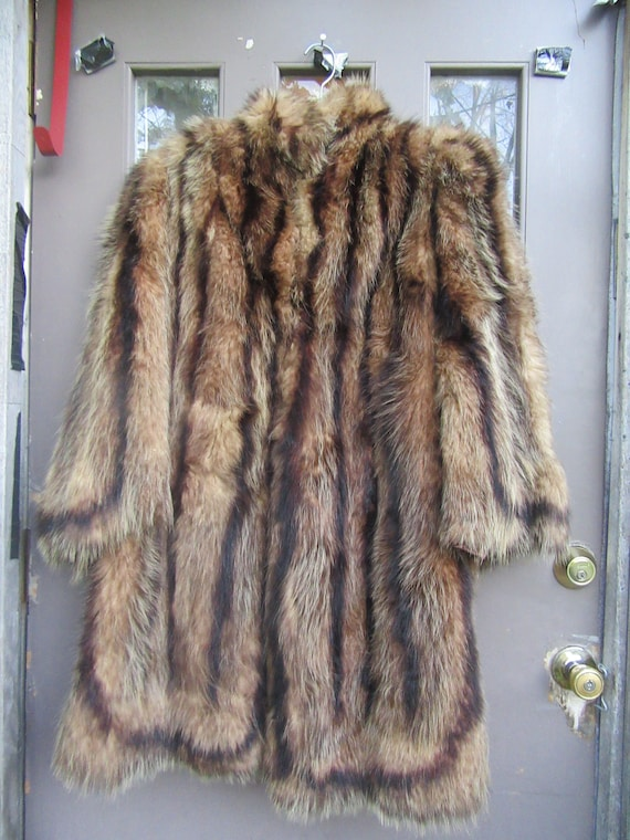 antique  handmade genuine raccoon fur coat  wide b