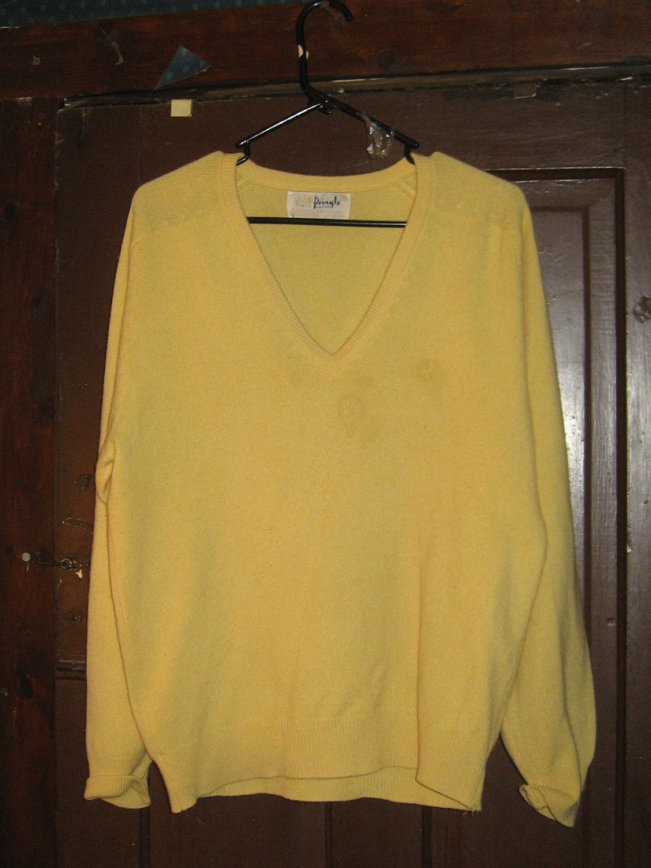 1960s – 70s Men's Ties | Skinny Ties, Slim Ties Vintage Pringle Of Scotland Pure Cashmere Yellow V-Neck Mens Sweater Sz 40 $28.00 AT vintagedancer.com