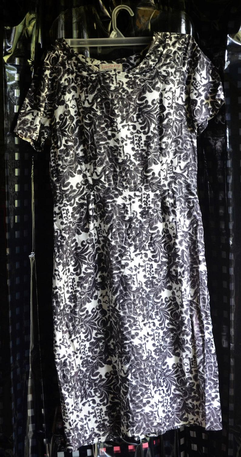 e79842338 1950's designer Roberta Faye by Saturn & Sedran Vintage BLACK and white  florals Wiggle Dress