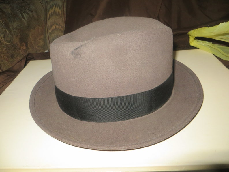 Vintage DYNAFELT Water Repellent Fur Blend Fedora mens grey  b614c835a45a