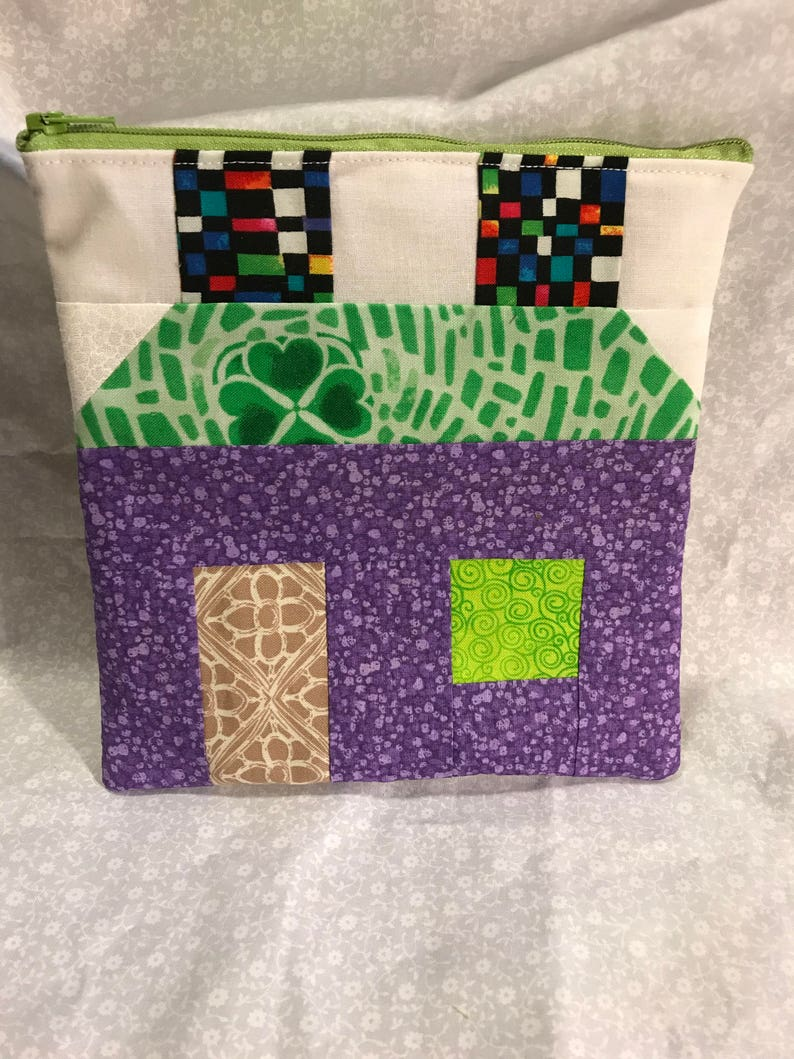 Small House Pieced Quilt Block Zippered Project Bag-Knitting-Sewing-Cross Stitching-Stitching