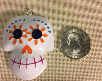 Colorful Candy Skull NEEDLE MINDER Cross Stitching-Cross Stitch-Embroidery-Hand Embroidery-Needlepoint