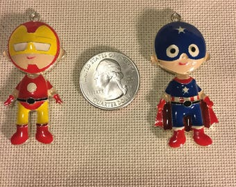 Set of 2 Captain America and Iron Man NEEDLE MINDER Cross Stitching-Cross Stitch-Embroidery-Hand Embroidery-Needlepoint