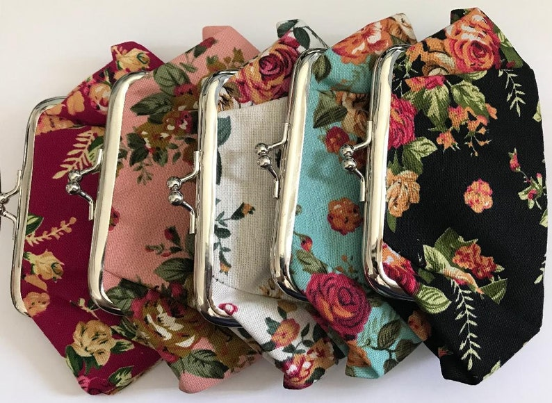 Boxy Retro Vintage Floral Canvas Clutch Wallet Coin Purse for Change