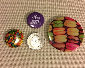 Set of 3 Macaroon Cookies, Candy, Eat Sleep Rave Repeat NEEDLE MINDER Cross Stitching-Cross Stitch-Embroidery-Hand Embroidery-Needlepoint