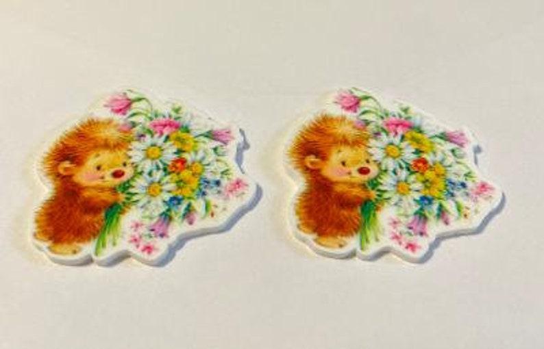 Set of 2 Flowers Cabochon Crafts Planar Resin Flatbacks Hairbows DIY
