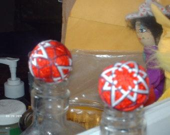 """Japanese-style temari ball red w starflowers 5"""" circumference (#019)"""