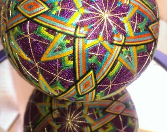 """Japanese style temari ball purple sewing thread base C8 starburst pattern 10""""circ"""