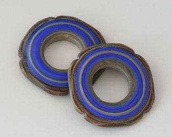 Rustic Squared Discs - (2) Handmade Lampwork Beads - Blue, Brown
