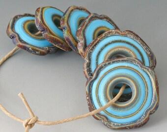 Rustic Squared - (6) Handmade Lampwork Beads - Turquoise, Brown