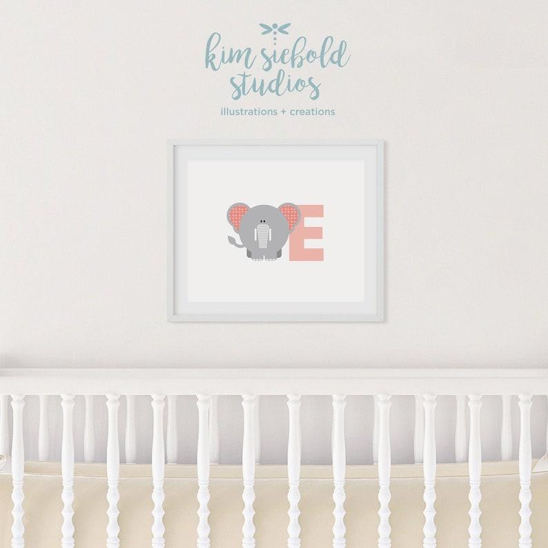 E Elephant Animal Alphabet Learning Nursery Kids Decor Wall Print Colour Poster