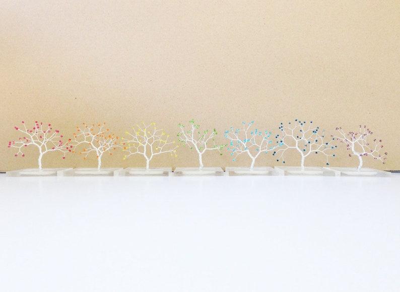 Astounding Miniature Rainbow Art Wire Trees Resin Base Yoga Spiritual Minimal Wire Tree Decoration Art Tree Statue Home Office Decor Yoga Chakra Art Interior Design Ideas Truasarkarijobsexamcom